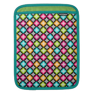 Colorful Argyle and Floral Pattern iPad Sleeve
