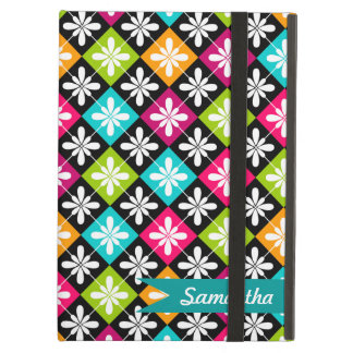 Colorful Argyle and Floral  Pattern Personalized iPad Case