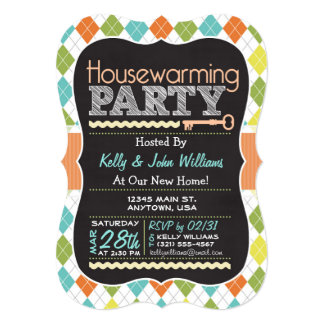 Colorful Argyle; Chalkboard Housewarming Party Card