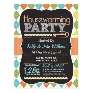 Colorful Argyle; Chalkboard Housewarming Party Postcard