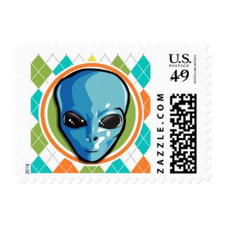 Colorful Argyle Pattern Postage Stamp