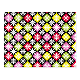 Colorful argyle pattern postcard