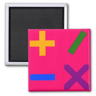 Colorful Arithmetic Symbols 2 Inch Square Magnet