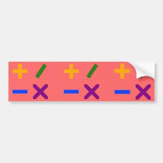 Colorful Arithmetic Symbols Bumper Sticker