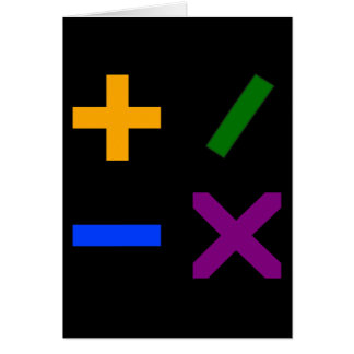 Colorful Arithmetic Symbols Card