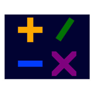 Colorful Arithmetic Symbols Post Card