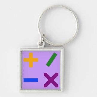 Colorful Arithmetic Symbols Silver-Colored Square Keychain