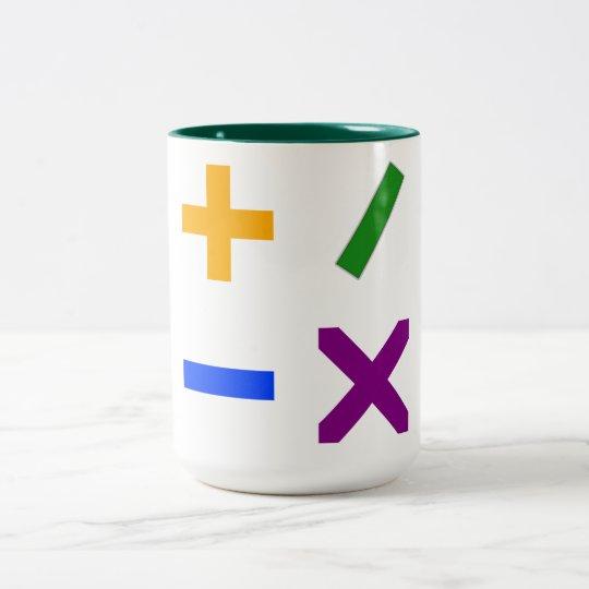 Colorful Arithmetic Symbols Two-Tone Coffee Mug