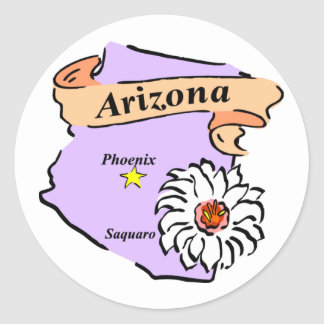 Colorful Arizona Map Gifts and Tees Classic Round Sticker
