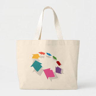 Colorful Arrow Circle Graphic Large Tote Bag