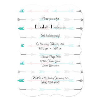 Colorful Arrows (Arrow Pattern) - Blue Pink Gray 5x7 Paper Invitation Card