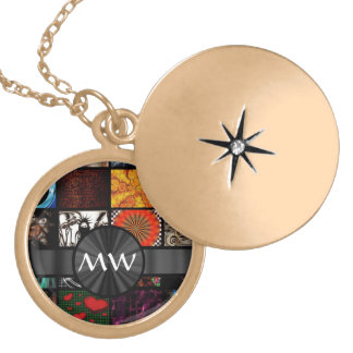 Colorful art collage abstracts round locket necklace