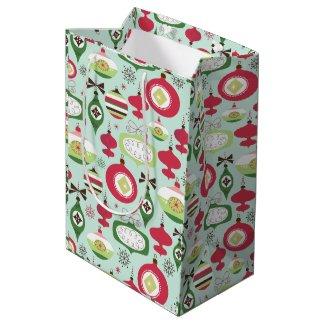 Colorful Art-Deco Christmas Ornament Pattern 2 Medium Gift Bag