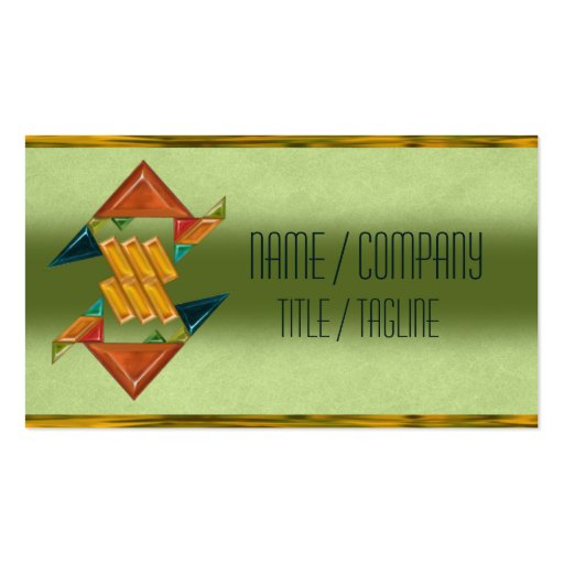 Colorful Art Deco Glass Business Cards