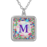 Colorful Art Deco Tile Mosaic Silver Plated Necklace