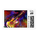 colorful art guitar postage stamps