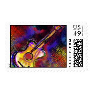 colorful art guitar stamp