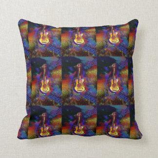 colorful art guitar throw pillow