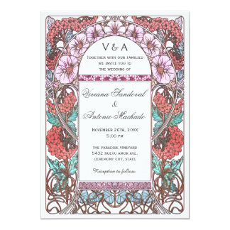 Colorful Art Nouveau Vintage Wedding Invitations