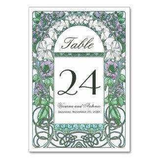 Colorful Art Nouveau Vintage Wedding Table Numbers