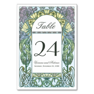 Colorful Art Nouveau Vintage Wedding Table Numbers Card
