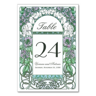 Colorful Art Nouveau Vintage Wedding Table Numbers Table Cards