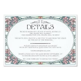 Colorful Art Nouveau Wedding Details Card (Set #3)