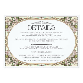 Colorful Art Nouveau Wedding Details Card (Set #9)