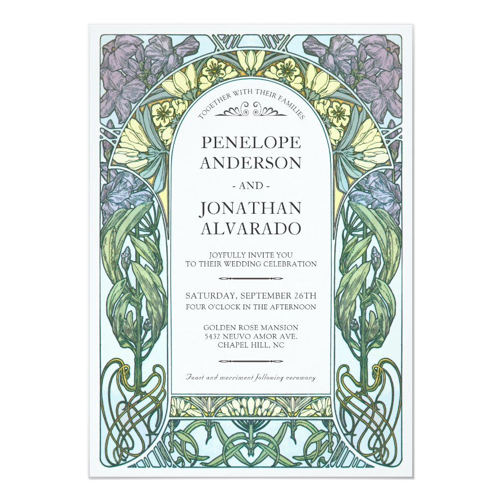 Colorful Art Nouveau Wedding Invitations (Set #1)