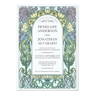 Colorful Art Nouveau Wedding Invitations (Set #1)
