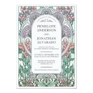 Colorful Art Nouveau Wedding Invitations (Set #3)