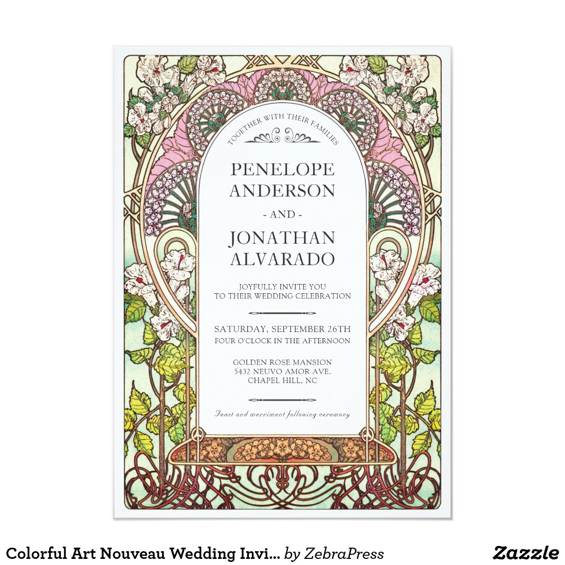 Colorful Art Nouveau Wedding Invitations (Set #9)
