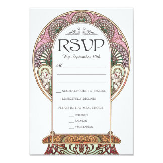 Colorful Art Nouveau Wedding RSVP Cards (Set #9)