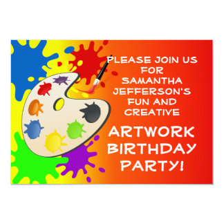 """Colorful Art Palate Party 5"""" X 7"""" Invitation Card"""