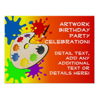 Colorful Art Palate Party Posters