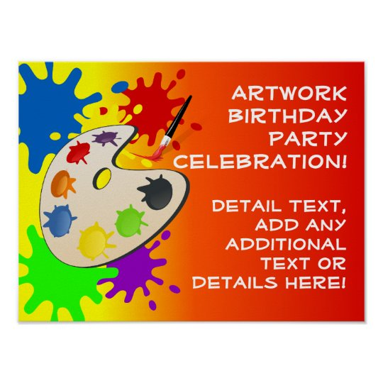 Colorful Art Palate Party Poster