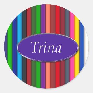 Colorful Art Pencils Monogram Classic Round Sticker
