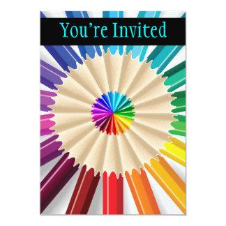 Colorful Art Pencils Pattern 5x7 Paper Invitation Card