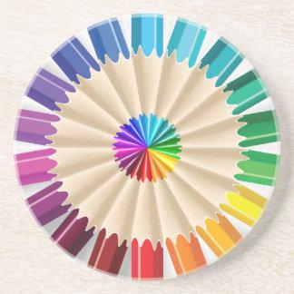 Colorful Art Pencils Pattern Sandstone Coaster