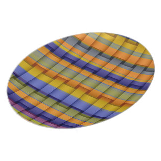 Colorful art stripes graphic design dinner plate