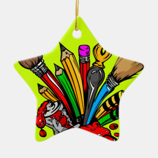 Colorful Art Supplies Double-Sided Star Ceramic Christmas Ornament