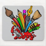 Colorful Art Supplies Mouse Pad