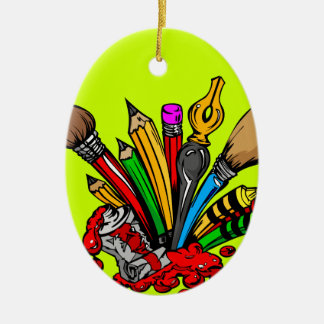 Colorful Art Supplies Christmas Tree Ornaments