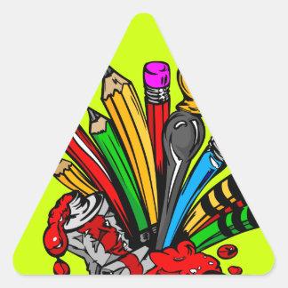 Colorful Art Supplies Triangle Sticker