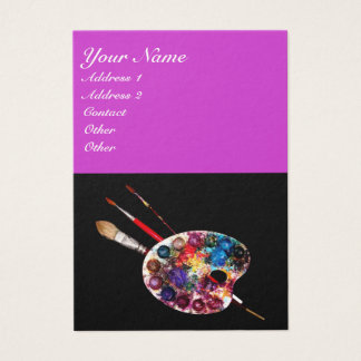 COLORFUL ARTIST COLOR PALETTE,BRUSHES,Black Purple Business Card