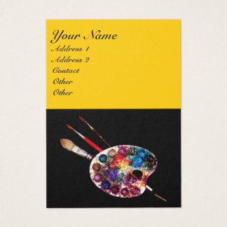 COLORFUL ARTIST COLOR PALETTE,BRUSHES,Black Yellow Business Card