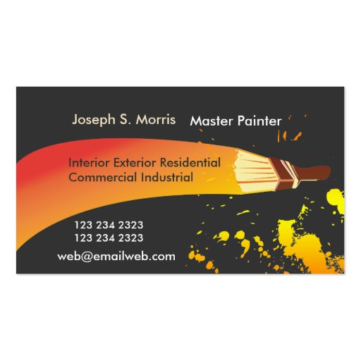 Colorful artist house painter artistic brush double for Painter business card template