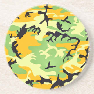 Colorful artistic camouflage design drink coaster