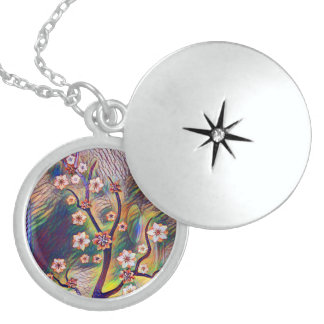 Colorful Artistic Cherry Tree Branch Blossoms Sterling Silver Necklace