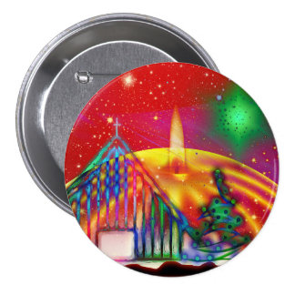 Colorful artistic Christmas illustration Pinback Button